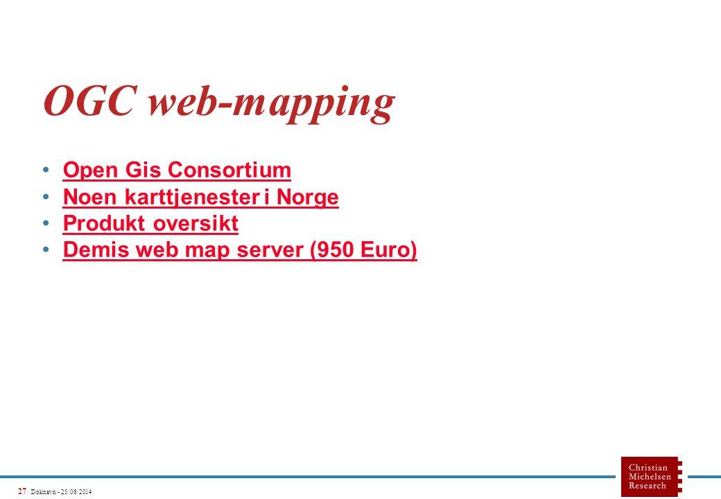 27 Doknavn - 25/06/2014 OGC web-mapping •Open Gis ConsortiumOpen Gis Consortium •Noen karttjenester i NorgeNoen karttjenester i Norge •Produkt oversiktProdukt oversikt •Demis web map server (950 Euro)Demis web map server (950 Euro)