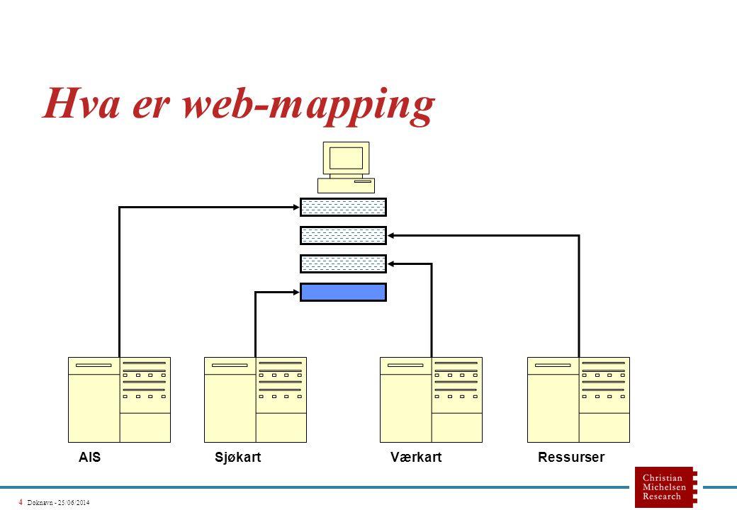 4 Doknavn - 25/06/2014 Hva er web-mapping SjøkartAISVærkartRessurser