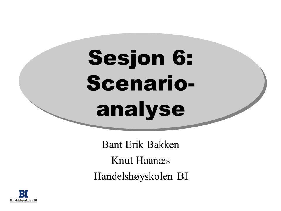 Scenariolæring •Sett beslutningsfatter (eller andre) I nye, ukjente/virtuelle omgivelser •Utvikle intuisjon for fremtidige årsaker og konsevenser