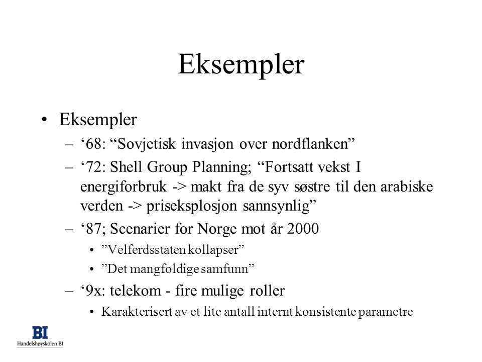 """Eksempler •Eksempler –'68: """"Sovjetisk invasjon over nordflanken"""" –'72: Shell Group Planning; """"Fortsatt vekst I energiforbruk -> makt fra de syv søstre"""
