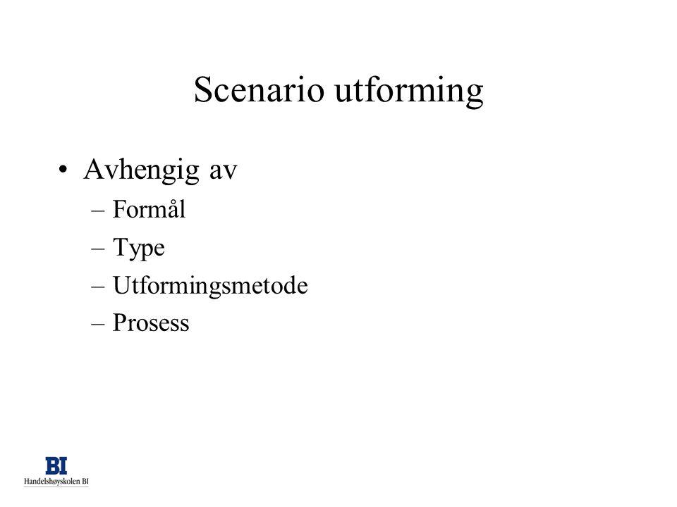 Scenario utforming •Avhengig av –Formål –Type –Utformingsmetode –Prosess