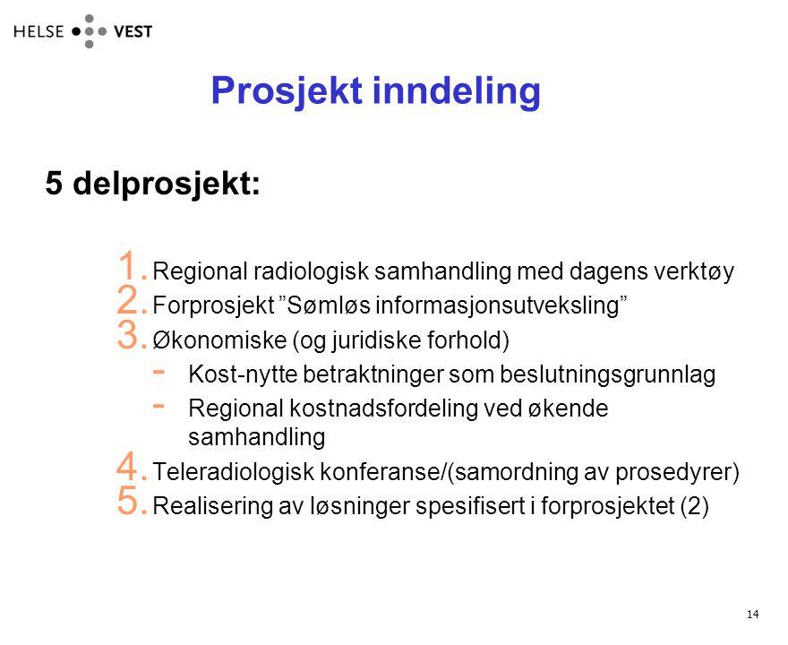 """14 Prosjekt inndeling 5 delprosjekt: 1. Regional radiologisk samhandling med dagens verktøy 2. Forprosjekt """"Sømløs informasjonsutveksling"""" 3. Økonomis"""