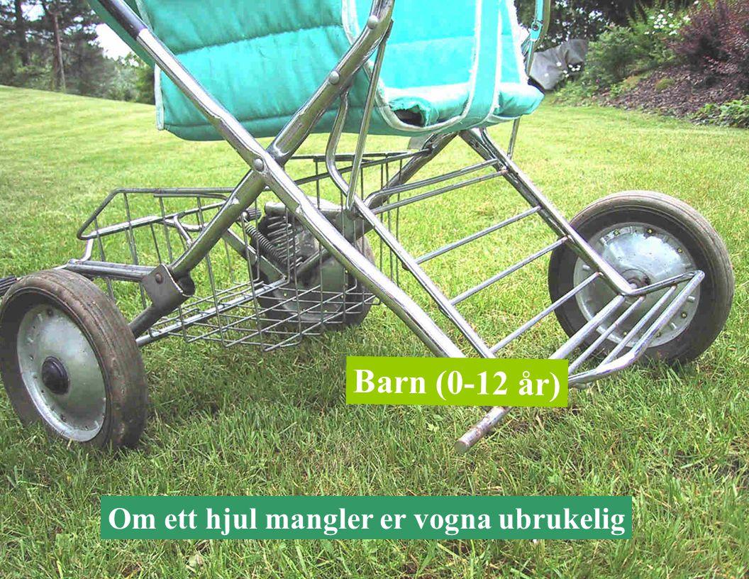 Om ett hjul mangler er vogna ubrukelig Barn (0-12 år)