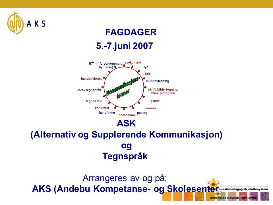 FAGDAGER 5.-7.juni 2007 øyekontakt lyd munnavlesning gester peking handlinger norsk tegnspråk IKT (info-og kommun.- hj.midler) tale skrift, bilde, teg