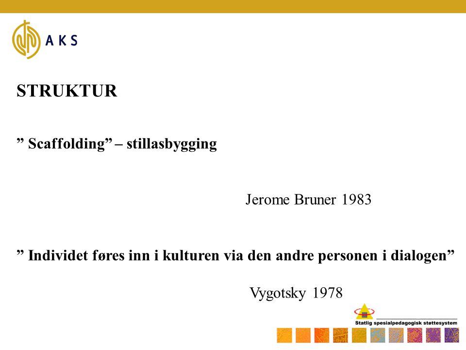 "STRUKTUR "" Scaffolding"" – stillasbygging Jerome Bruner 1983 "" Individet føres inn i kulturen via den andre personen i dialogen"" Vygotsky 1978"