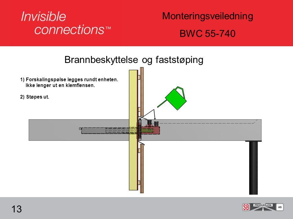 Monteringsveiledning BWC 55-740 Brannbeskyttelse og faststøping 13 1) Forskalingspølse legges rundt enheten.