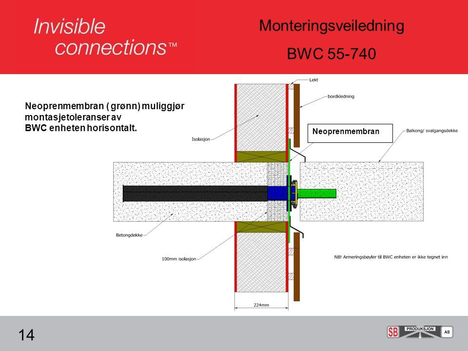 Monteringsveiledning BWC 55-740 14 Neoprenmembran ( grønn) muliggjør montasjetoleranser av BWC enheten horisontalt.