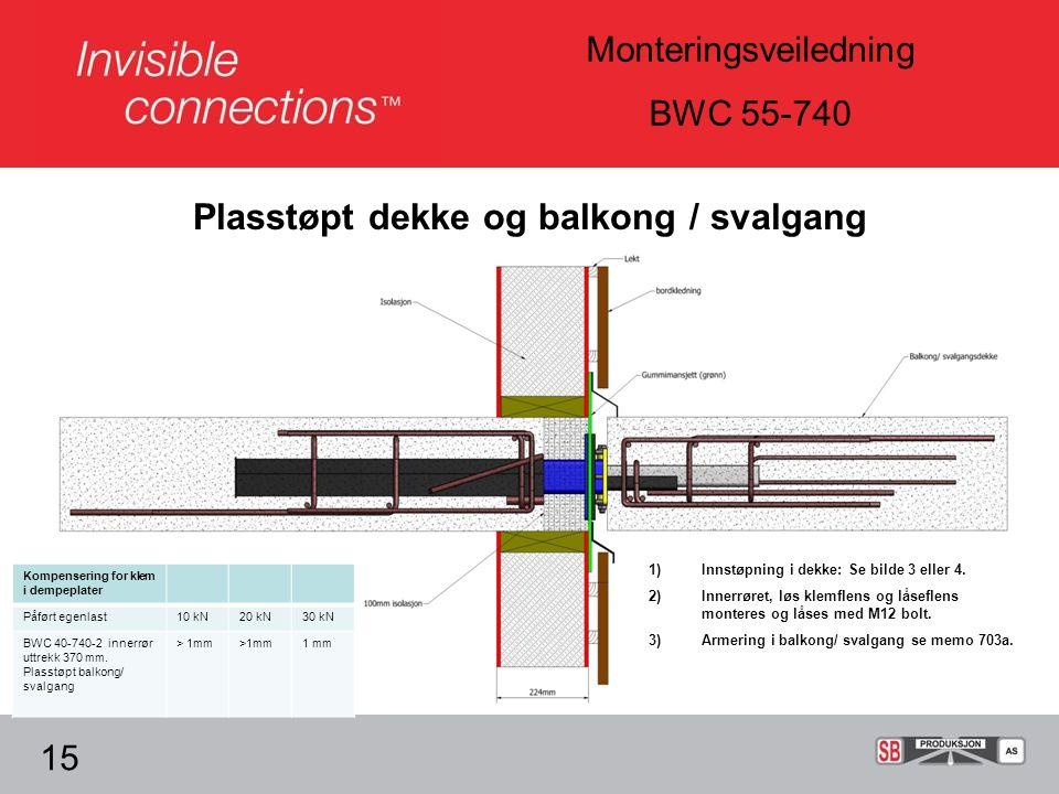 Monteringsveiledning BWC 55-740 15 1)Innstøpning i dekke: Se bilde 3 eller 4.