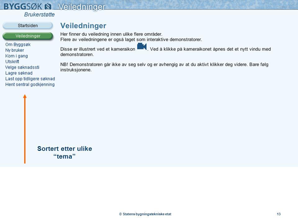 """© Statens bygningstekniske etat13 Sortert etter ulike """"tema"""""""