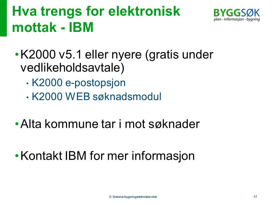 © Statens bygningstekniske etat17 Hva trengs for elektronisk mottak - IBM •K2000 v5.1 eller nyere (gratis under vedlikeholdsavtale) • K2000 e-postopsj