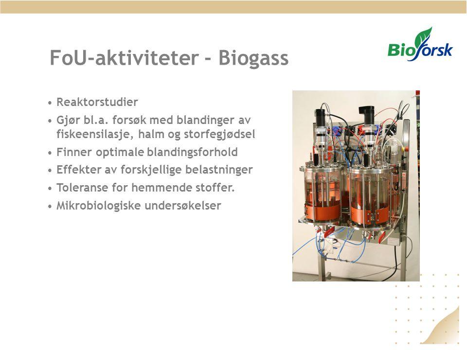 FoU-aktiviteter - Biogass •Reaktorstudier •Gjør bl.a. forsøk med blandinger av fiskeensilasje, halm og storfegjødsel •Finner optimale blandingsforhold