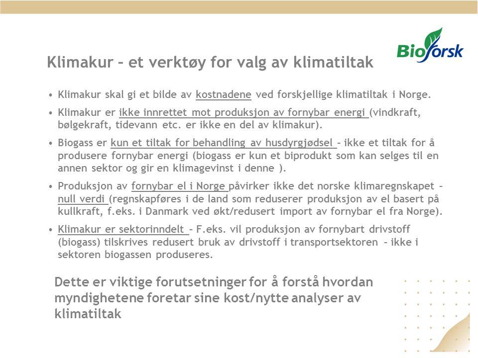 Klimakur – et verktøy for valg av klimatiltak •Klimakur skal gi et bilde av kostnadene ved forskjellige klimatiltak i Norge. •Klimakur er ikke innrett