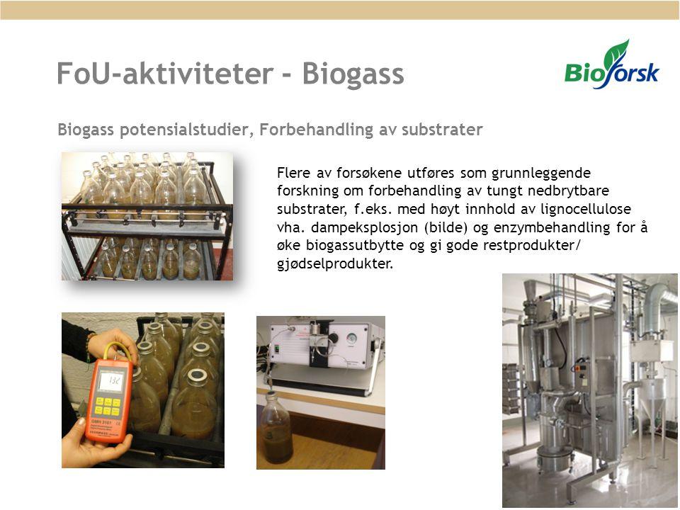 FoU-aktiviteter - Biogass Biogass potensialstudier, Forbehandling av substrater Flere av forsøkene utføres som grunnleggende forskning om forbehandlin