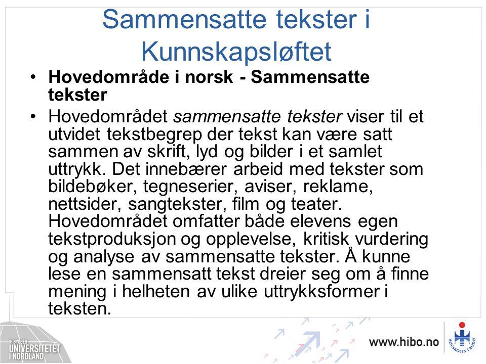 Sammensatte tekster i Kunnskapsløftet •Hovedområde i norsk - Sammensatte tekster •Hovedområdet sammensatte tekster viser til et utvidet tekstbegrep de