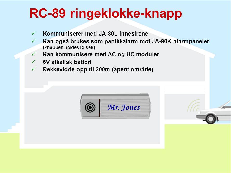 PC-01 proximity kort  RFID adgangskort (EM UNIQUE 125kHz)  Opp til 50 kort kan legges inn i systemet  Kortet har samme funksjon som en kode  For h