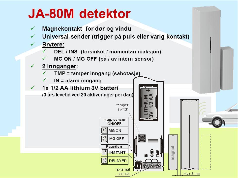 RC-89 ringeklokke-knapp  Kommuniserer med JA-80L innesirene  Kan også brukes som panikkalarm mot JA-80K alarmpanelet (knappen holdes i 3 sek)  Kan