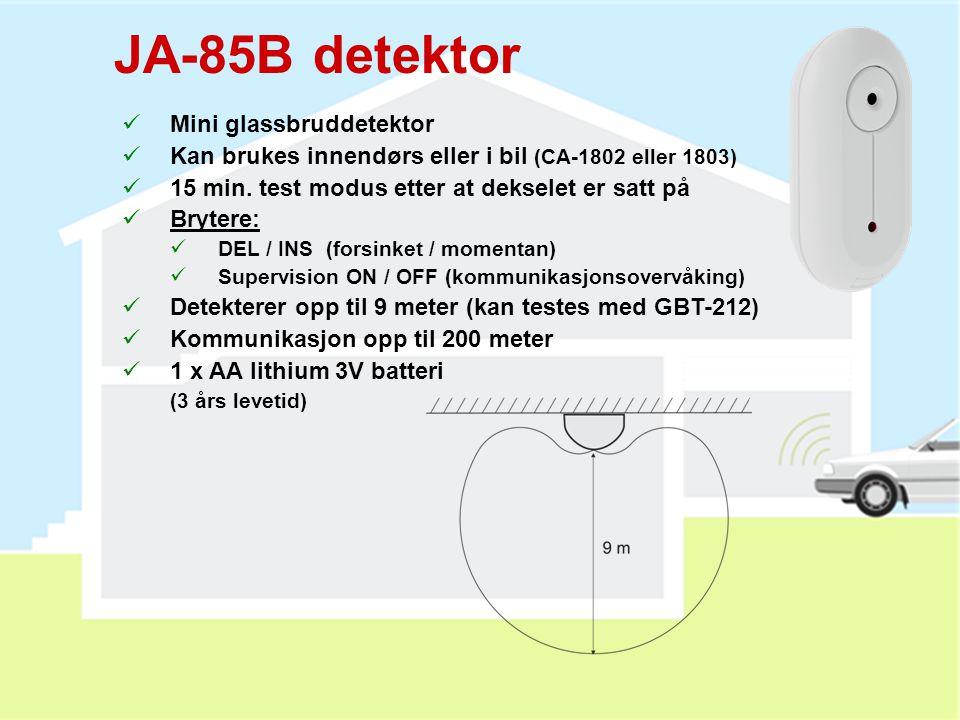 JA-80G detektor  Detekterer kombustive gasser (naturgasser)  Strømforsynes fra nettet  Kan testes med lighter  Brytere:  10 / 20% LEL (gass konse