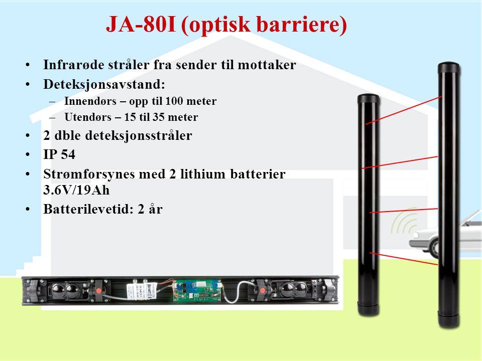 JA-85P detektor  Mini-PIR detektor  Kan brukes innendørs eller i bil (CA-1802 eller 1803)  15 min. test modus etter at dekselet er satt på  Bryter