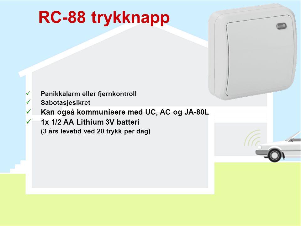 JA-82M detektor  Usynlig vindu- (dør-) detektor (EURO eller treramme)  Installeres i rammen på vindu eller dør  Brytere:  INS / DEL (momentan / fo