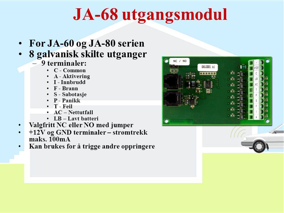 JA-80A utendørsirene  Fullstendig trådløs!!!  Lydstyrken øker gradvis  Maks. sirenetid: 3 min.  Blinker i 30 min. etter alarm  Jumpere:  50 / 25