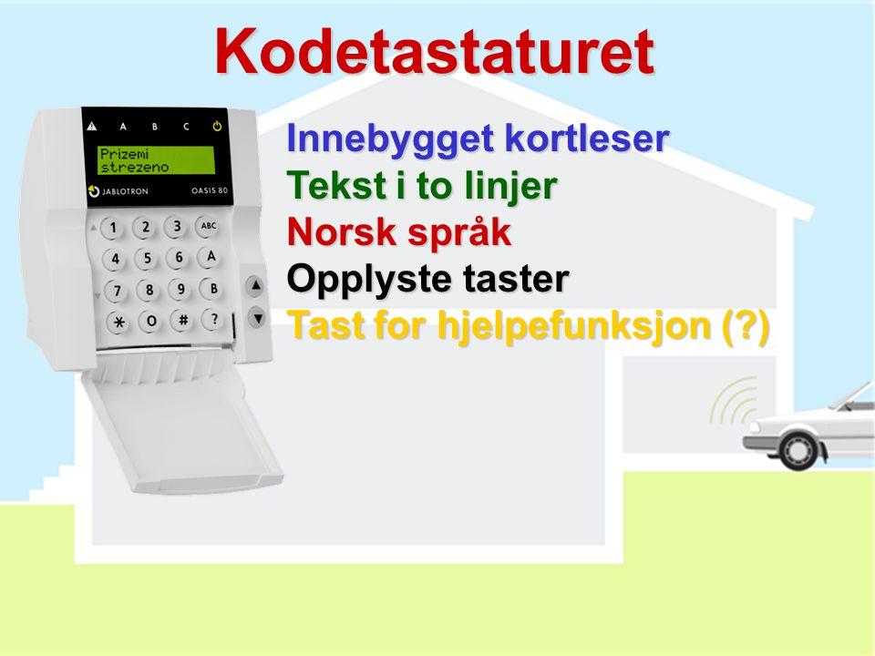 JK-82 inneholder:  Kontrollpanel med GSM modul  Trådløst kodetastatur  PIR detektor  Magnetkontakt  Innesirene  Fjernkontroll  Trådløs ringeklo