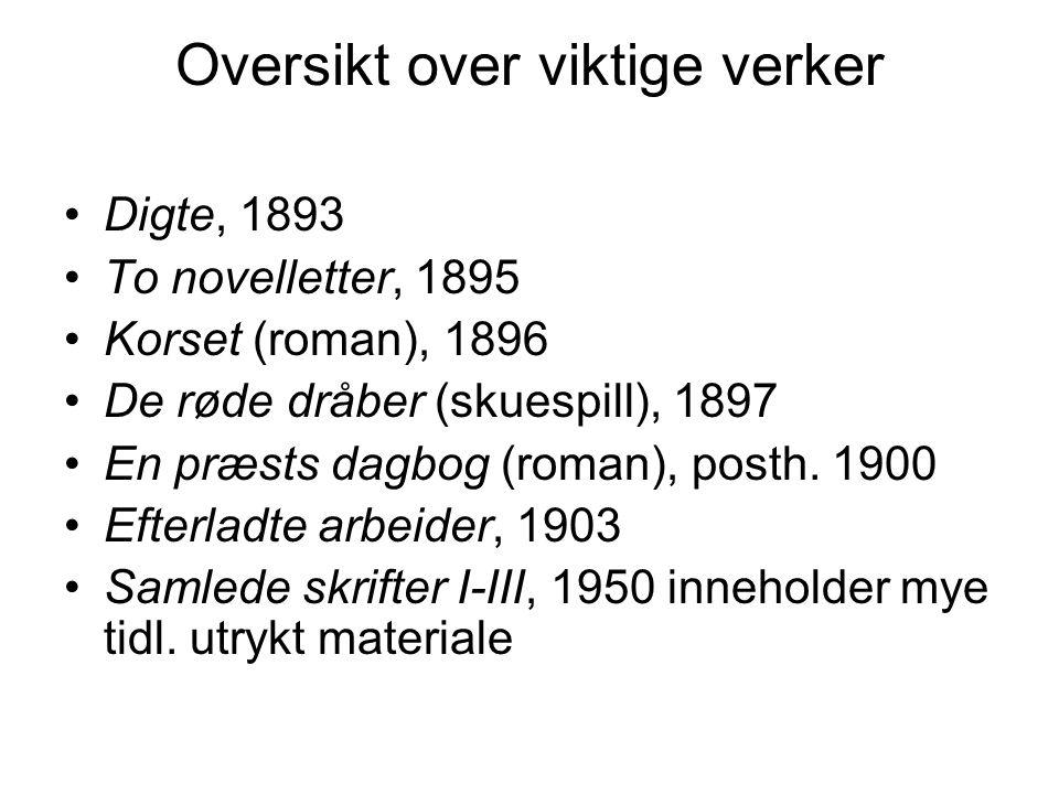 Oversikt over viktige verker •Digte, 1893 •To novelletter, 1895 •Korset (roman), 1896 •De røde dråber (skuespill), 1897 •En præsts dagbog (roman), posth.