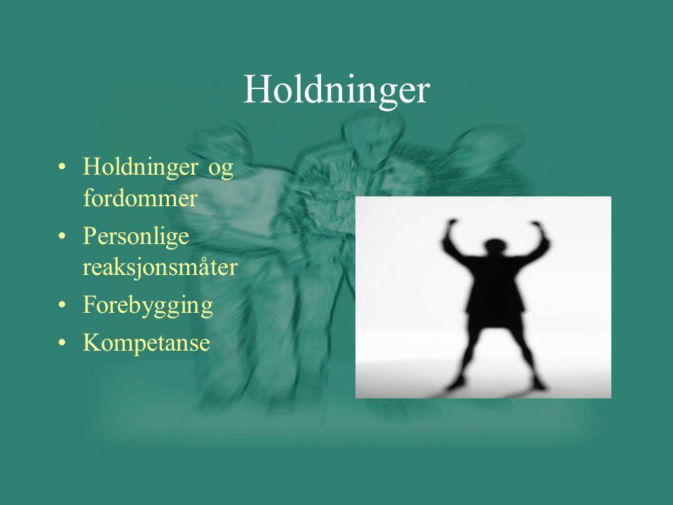 Holdninger •Holdninger og fordommer •Personlige reaksjonsmåter •Forebygging •Kompetanse