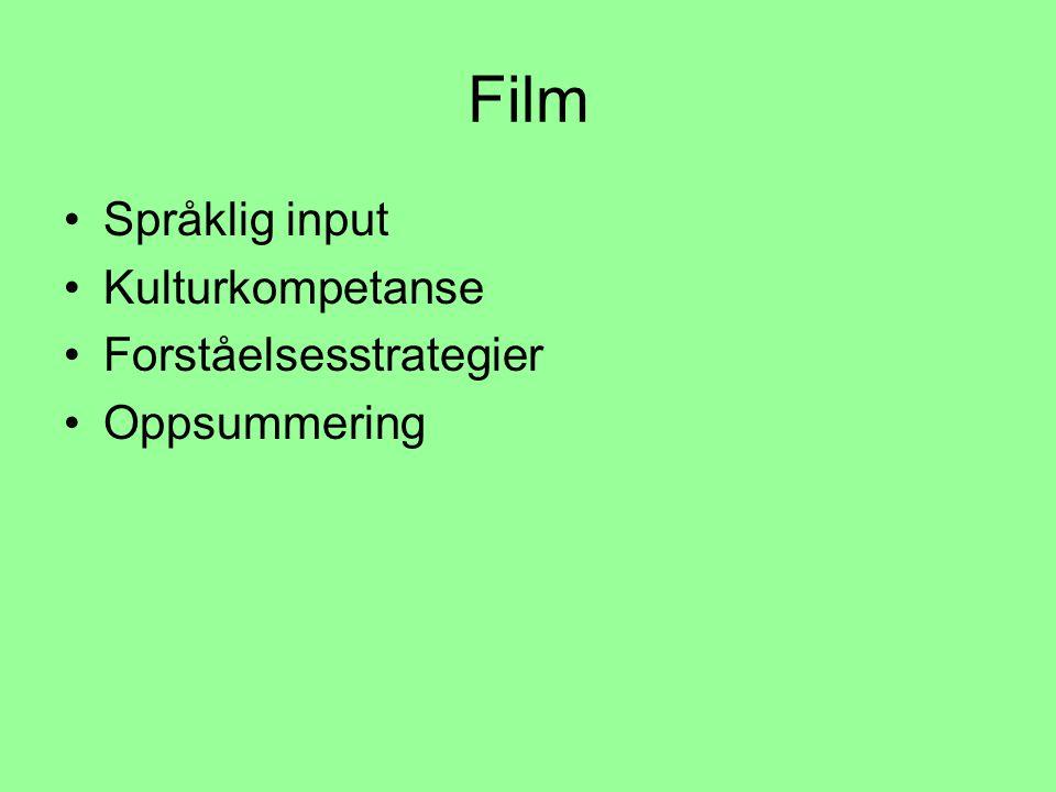 Film •Språklig input •Kulturkompetanse •Forståelsesstrategier •Oppsummering