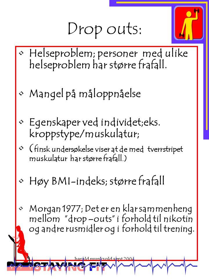 harald munkvold sept 2004 Drop outs: •Helseproblem; personer med ulike helseproblem har større frafall. •Mangel på måloppnåelse •Egenskaper ved indivi