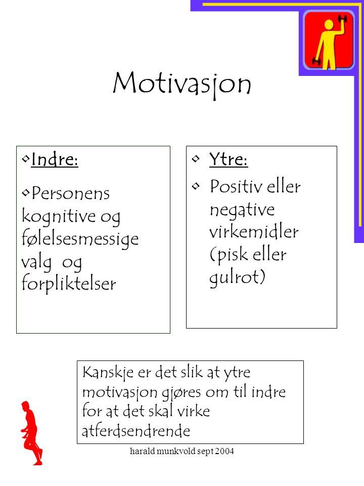 harald munkvold sept 2004 Motivasjon •Ytre: •Positiv eller negative virkemidler (pisk eller gulrot) •Indre: •Personens kognitive og følelsesmessige va