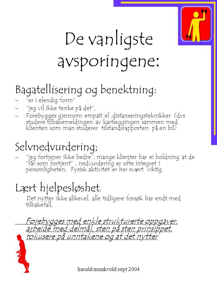 """harald munkvold sept 2004 De vanligste avsporingene : Bagatellisering og benektning: -""""er i elendig form"""" -""""jeg vil ikke tenke på det"""", -Forebygges gj"""