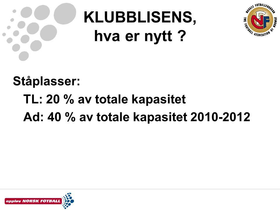 KLUBBLISENS, hva er nytt ? Ståplasser: TL: 20 % av totale kapasitet Ad: 40 % av totale kapasitet 2010-2012