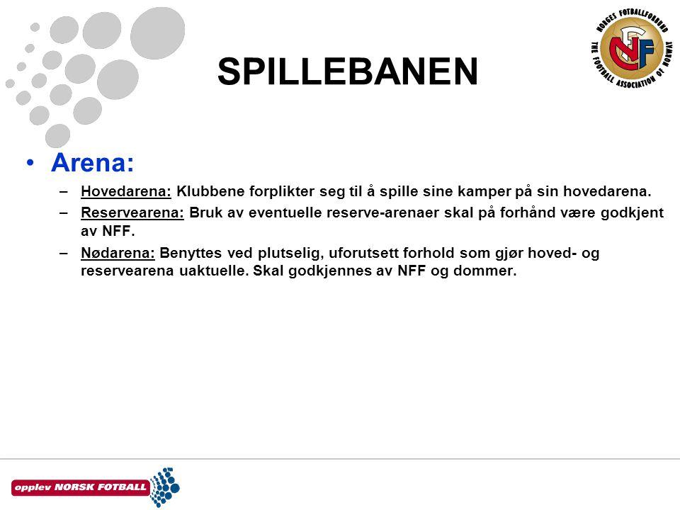 SPILLEBANEN •Arena: –Hovedarena: Klubbene forplikter seg til å spille sine kamper på sin hovedarena. –Reservearena: Bruk av eventuelle reserve-arenaer