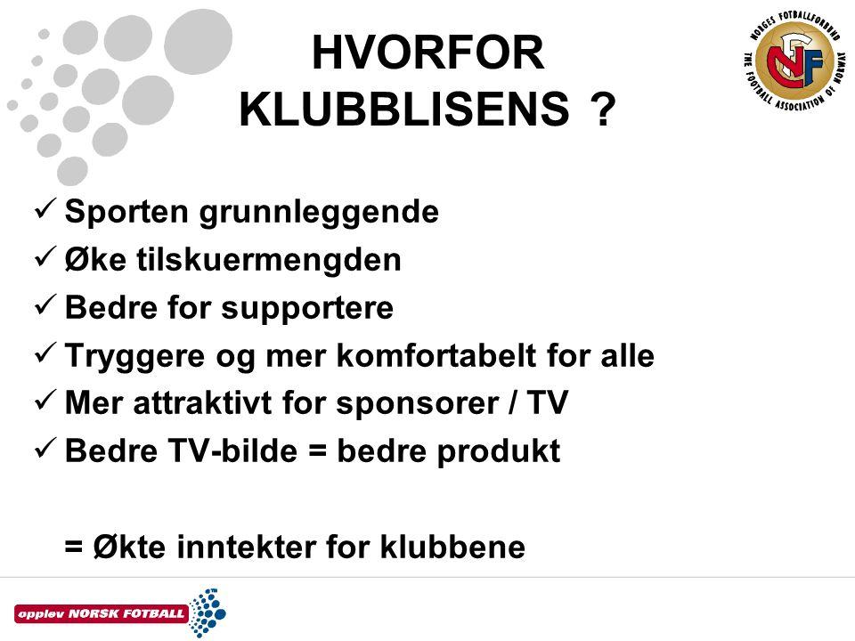 KLUBBLISENS  Klubblisensen vedtatt innført av klubbene, ikke noe NFF's administrasjon finner på selv  Kommune/ sponsorer betaler ofte det meste  TV har betalt for et definert produkt  Bruk ikke tid på hvordan bestemmelsene kan omgås!