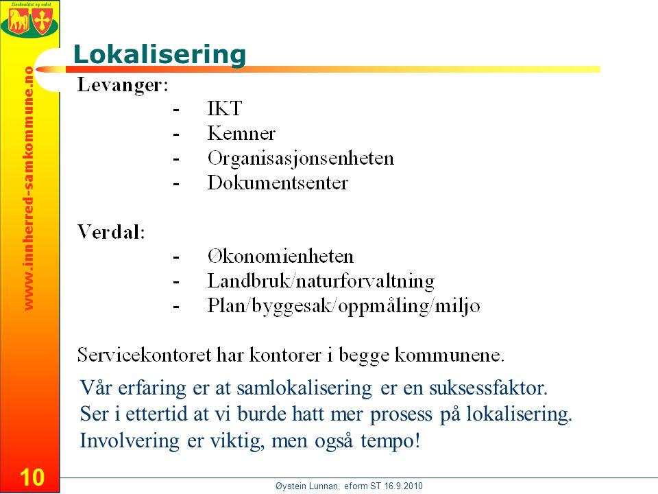 www.innherred-samkommune.no Øystein Lunnan, eform ST 16.9.2010 10 Lokalisering Vår erfaring er at samlokalisering er en suksessfaktor.