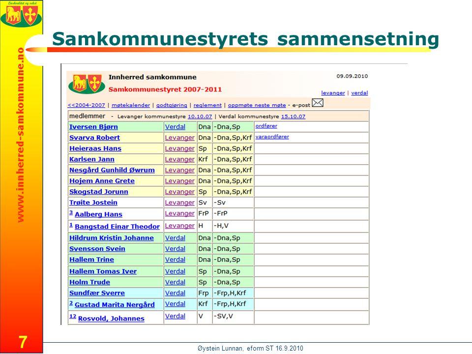 www.innherred-samkommune.no Øystein Lunnan, eform ST 16.9.2010 Samkommunestyrets sammensetning 7