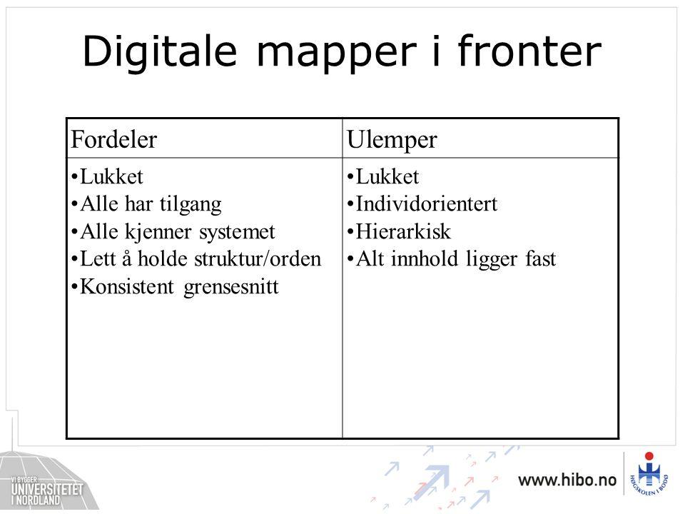 Digitale mapper i fronter FordelerUlemper •Lukket •Alle har tilgang •Alle kjenner systemet •Lett å holde struktur/orden •Konsistent grensesnitt •Lukket •Individorientert •Hierarkisk •Alt innhold ligger fast
