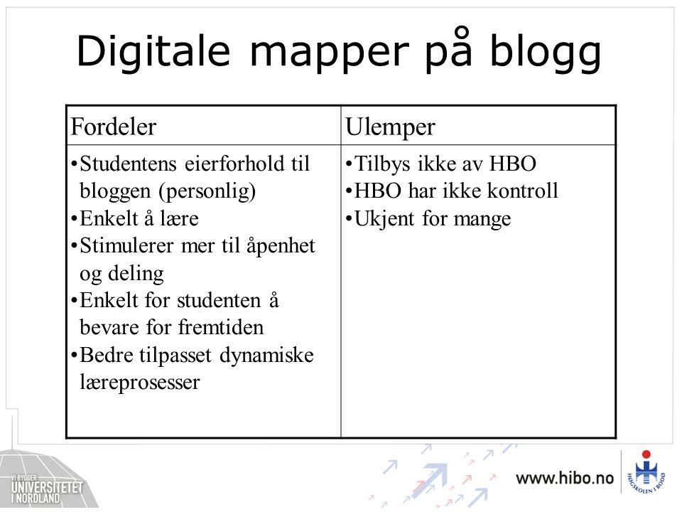 Digitale mapper på blogg FordelerUlemper •Studentens eierforhold til bloggen (personlig) •Enkelt å lære •Stimulerer mer til åpenhet og deling •Enkelt for studenten å bevare for fremtiden •Bedre tilpasset dynamiske læreprosesser •Tilbys ikke av HBO •HBO har ikke kontroll •Ukjent for mange