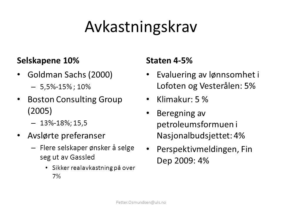 Avkastningskrav Selskapene 10% • Goldman Sachs (2000) – 5,5%-15% ; 10% • Boston Consulting Group (2005) – 13%-18%; 15,5 • Avslørte preferanser – Flere
