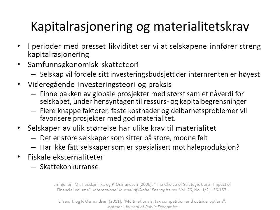 Kapitalrasjonering og materialitetskrav • I perioder med presset likviditet ser vi at selskapene innfører streng kapitalrasjonering • Samfunnsøkonomis