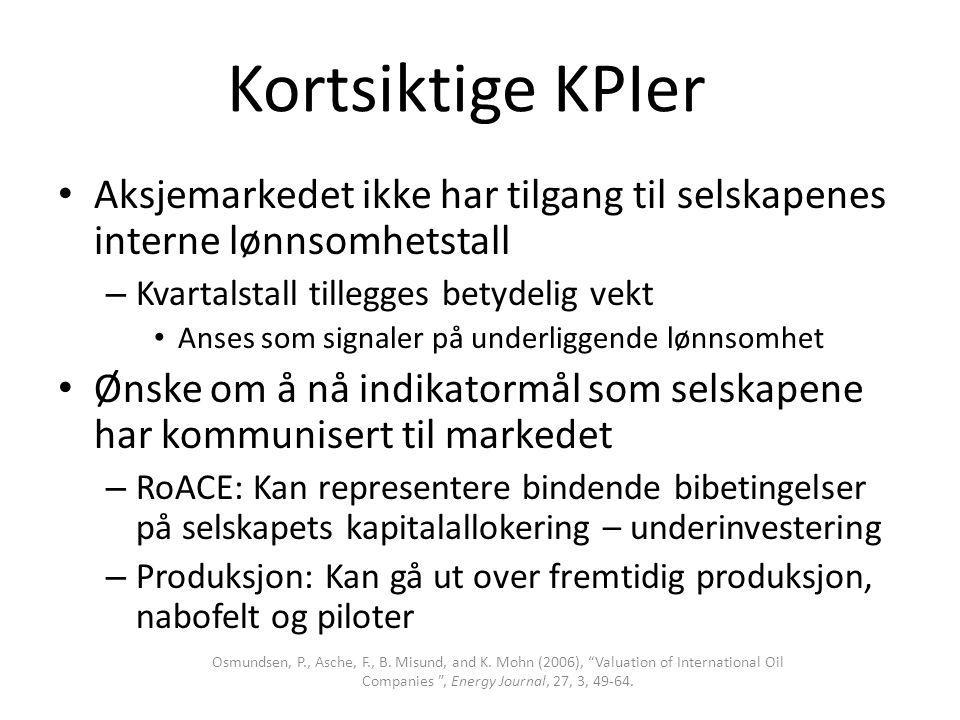 Kortsiktige KPIer • Aksjemarkedet ikke har tilgang til selskapenes interne lønnsomhetstall – Kvartalstall tillegges betydelig vekt • Anses som signale