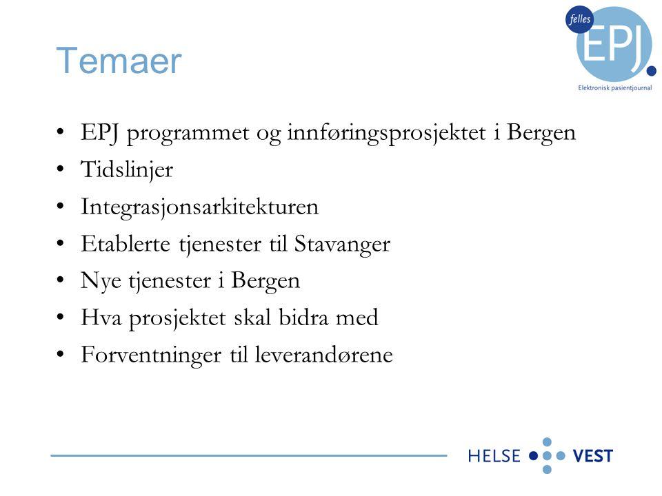 Temaer •EPJ programmet og innføringsprosjektet i Bergen •Tidslinjer •Integrasjonsarkitekturen •Etablerte tjenester til Stavanger •Nye tjenester i Berg