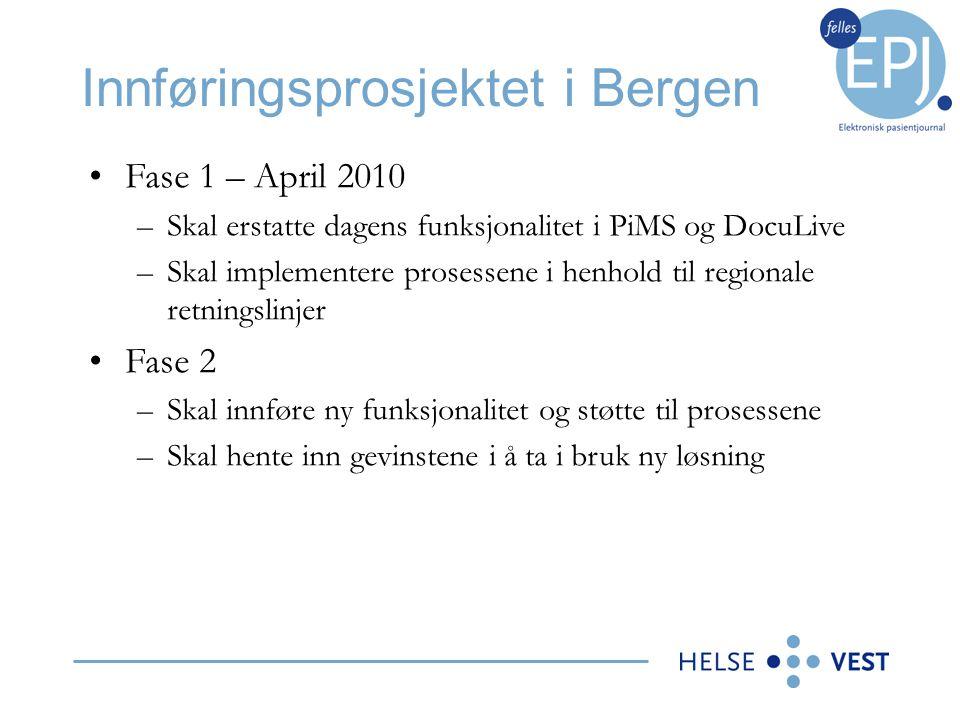 Innføringsprosjektet i Bergen •Applikasjoner som gjenbruker tjenester –Fra Stavanger: AMIS, Akuttdatabasen, ProSang, (Teleradiologi) –KIBI, Shire, ICIP, Visir, Auditbase, Cytodose, HjertePACS •Applikasjoner med meldinger og tjenester –Agfa RIS, Unilab, DocuLive PAIS, LMX, NetLab •Applikasjoner som krever nye tjenester –Koding: Natus og Orbit –Pasientlogistikk: Webport –Nødnr synkronisering i Helse Vest