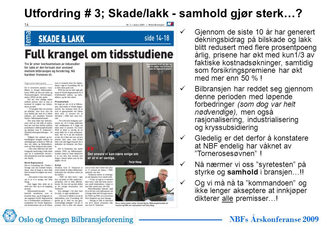 NBFs Årskonferanse 2009 Utfordring # 3; Skade/lakk - samhold gjør sterk….