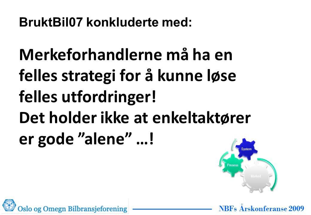 NBFs Årskonferanse 2009 BruktBil07 konkluderte med: Merkeforhandlerne må ha en felles strategi for å kunne løse felles utfordringer.