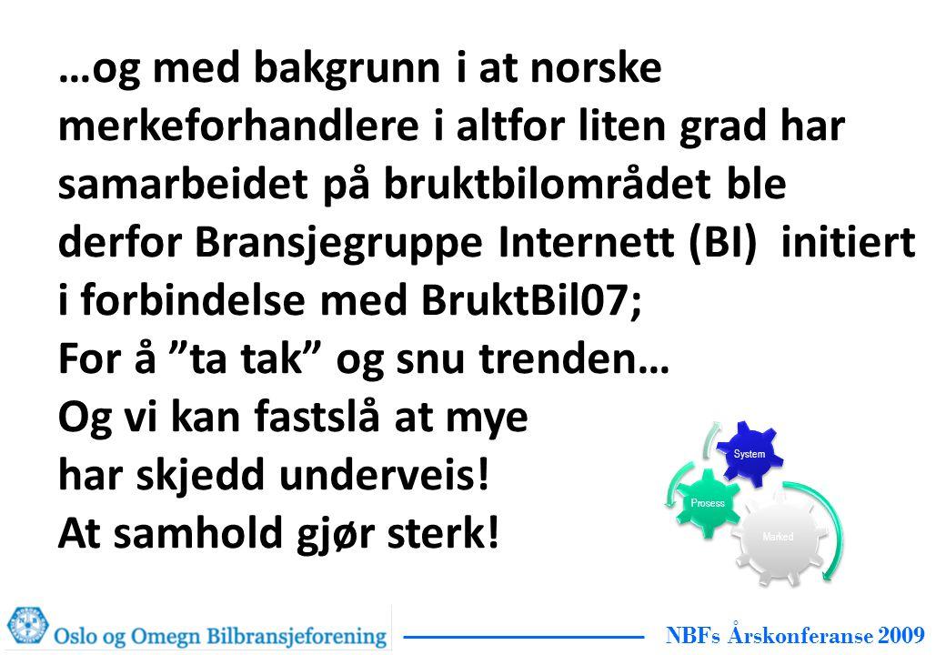 NBFs Årskonferanse 2009 …og med bakgrunn i at norske merkeforhandlere i altfor liten grad har samarbeidet på bruktbilområdet ble derfor Bransjegruppe Internett (BI) initiert i forbindelse med BruktBil07; For å ta tak og snu trenden… Og vi kan fastslå at mye har skjedd underveis.