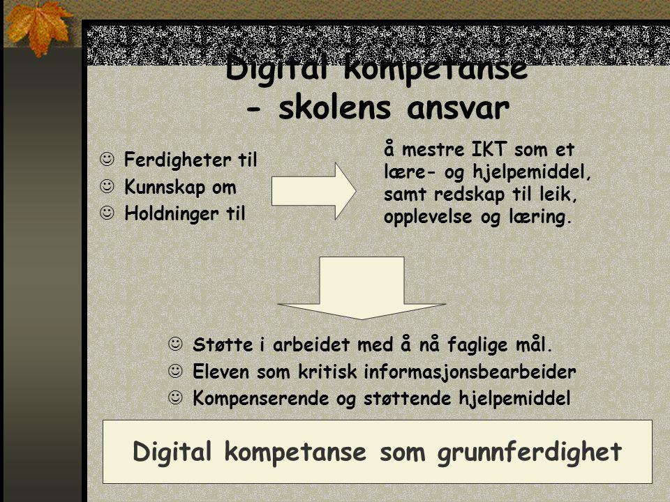 Digital kompetanse - skolens ansvar  Ferdigheter til  Kunnskap om  Holdninger til  Støtte i arbeidet med å nå faglige mål.