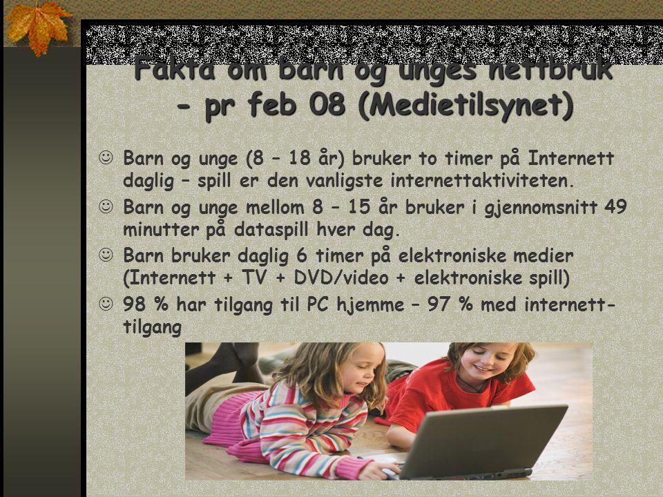 Fakta om barn og unges nettbruk - pr feb 08 (Medietilsynet)  Barn og unge (8 – 18 år) bruker to timer på Internett daglig – spill er den vanligste internettaktiviteten.