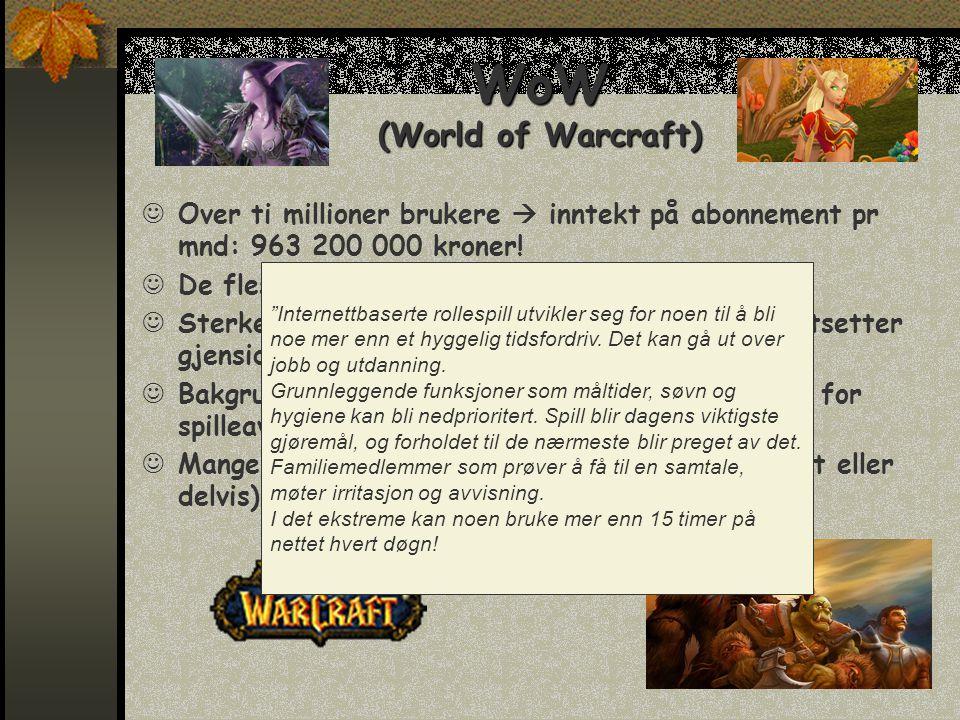 WoW (World of Warcraft)  Over ti millioner brukere  inntekt på abonnement pr mnd: 963 200 000 kroner.