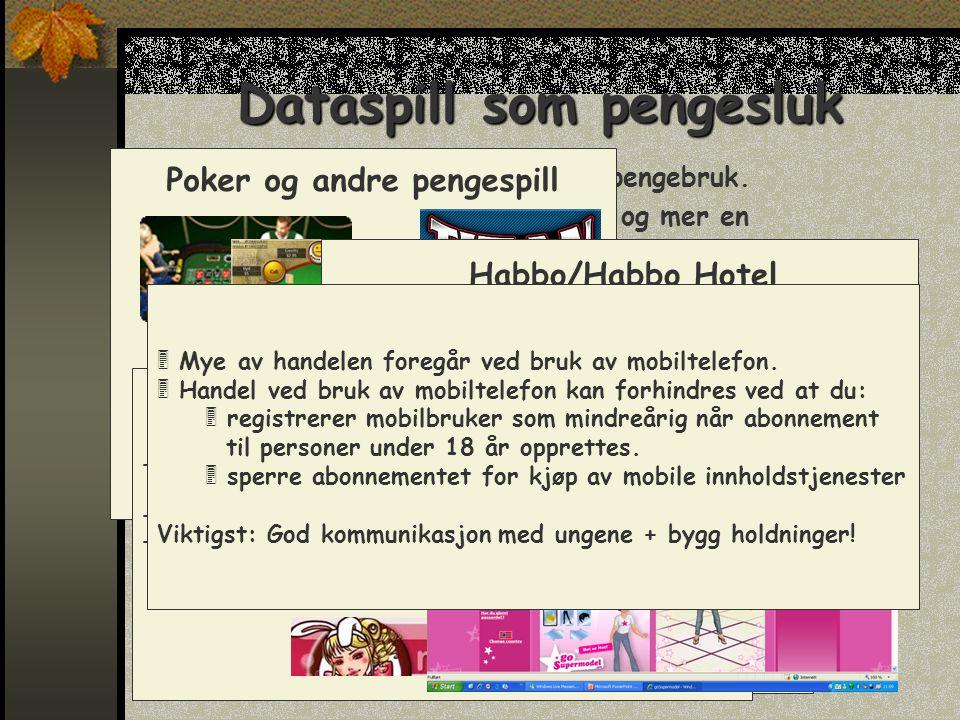 Dataspill som pengesluk  Noen dataspill kan føre til stort pengebruk.